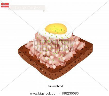 Danish Cuisine, Illustration of Smorrebrod or Traditional Buttered Rye Bread or Dark Rye Bread Topped with Chopped Liverpaste and Boil Egg. The National Dish of Denmark.