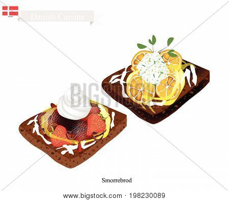 Danish Cuisine, Illustration of Smorrebrod or Traditional Buttered Rye Bread or Dark Rye Bread Topped with Fresh Strawberry and Lemon. The National Dish of Denmark.