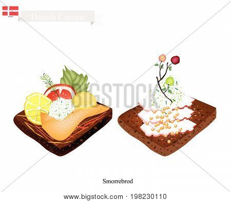Danish Cuisine, Illustration of Smorrebrod or Traditional Buttered Rye Bread or Dark Rye Bread Topped with Squid and Fish. The National Dish of Denmark.