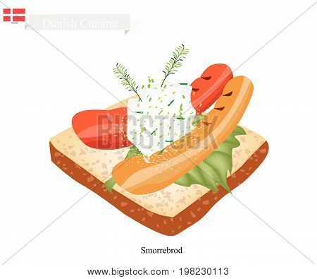 Danish Cuisine, Illustration of Smorrebrod or Traditional Buttered Rye Bread or Dark Rye Bread Topped with Sausage, Tartar Sauce and Dill. The National Dish of Denmark.