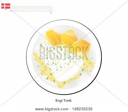 Danish Cuisine, Illustration of Kogt Torsk or Traditional Boiled Cod Fillet Served with Mustard Sauce and Boiled Potatoes. One of The Most Famous Dish in Denmark.
