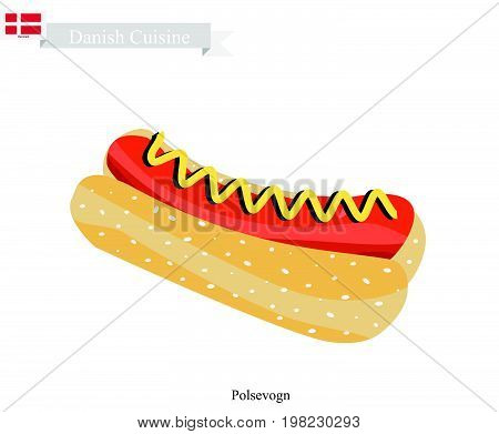 Danish Cuisine, Illustration of Polsevogn or Traditional Hot Dog Made of Sausage with Mustard and Wheat Bun. One of The Most Famous Dish in Denmark.