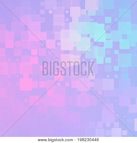 Pale purple pink turquoise vector abstract glowing background with random sizes rounded tiles square