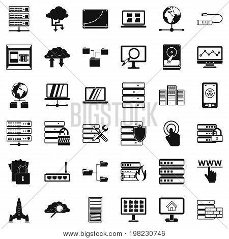 Data file icons set. Simple style of 36 data file vector icons for web isolated on white background