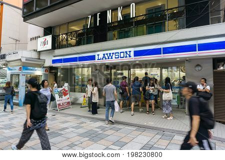 TOKYO JAPAN - July 26 2017 : Lawson store in Harajuku district Tokyo Japan. There are 9065 Lawson brand stores in Japan .