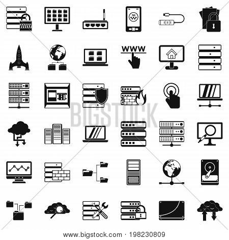 File database icons set. Simple style of 36 file database vector icons for web isolated on white background