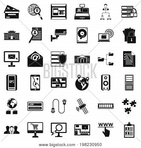 Database protection icons set. Simple style of 36 database protection vector icons for web isolated on white background