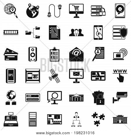 Information security icons set. Simple style of 36 information security vector icons for web isolated on white background