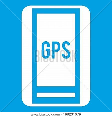 Global Positioning System icon white isolated on blue background vector illustration