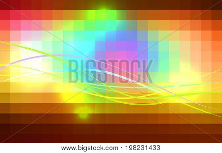 Red pink green blue brown vector abstract glowing background with colored lines