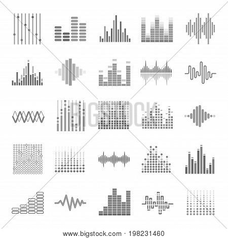 Music equalizer icons set. Audio wave scales or sound volume graphs. Vector isolated bass and treble frequency symbols for internet web musical or dj application