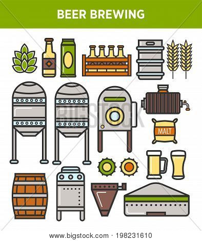 Beer brewing factory and brewery production technology process details. Vector isolated elements of hop and millet brew factory, fermentation barrels, filtration stations and beer product bottles
