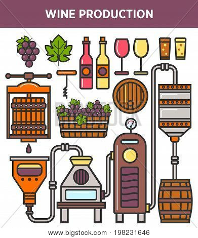Wine production factory or winery winemaking technology line elements. Vector icons of grape press, wooden aging barrel, fermentation and filtration station equipment, glass bottle and corckscrew