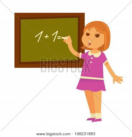 Redhead girl in pink dress solves mathematical example on chalkboard isolated cartoon vector illustration on white background. Math lesson at primary school. Kid involved in educational process.