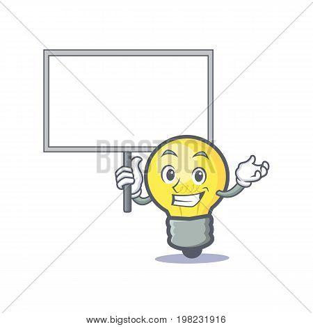 Bring board light bulb character cartoon vector illustration
