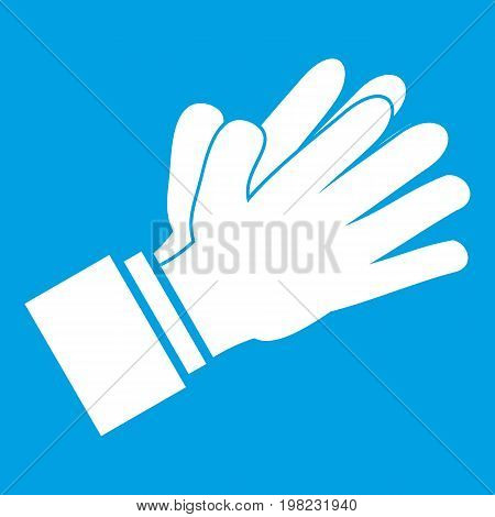 Clapping applauding hands icon white isolated on blue background vector illustration