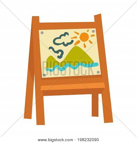 Wooden easel with attached childish drawing that has high mountains, blue water, fluffy clouds and bright sun on it isolated cartoon vector illustration on white background. Small kids work of art.