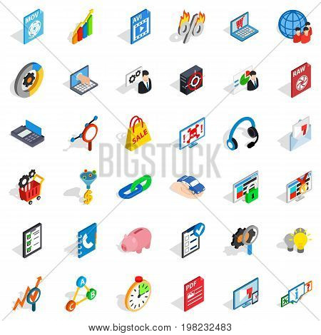 Safe cloud icons set. Isometric style of 36 safe cloud vector icons for web isolated on white background