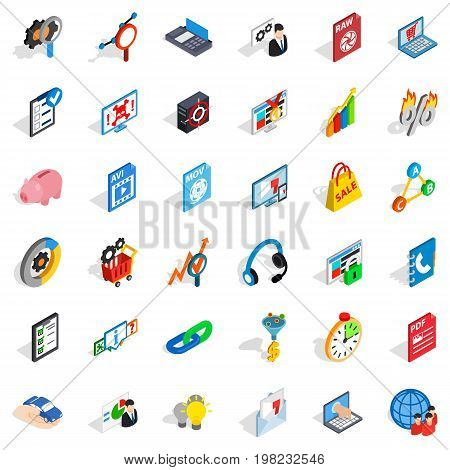 Shield cloud icons set. Isometric style of 36 shield cloud vector icons for web isolated on white background