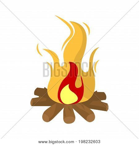 Burning fire vector illustration isolated on white background. Symbol of heat, campfire with flame and wooden sticks, bonfire in flat design cartoon style, flaming woods with bright flames