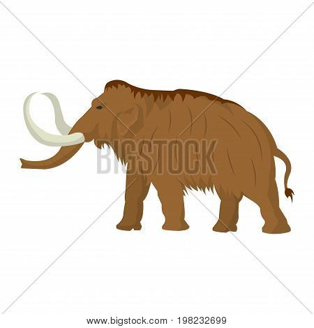 Mammoth large extinct elephant of Pleistocene epoch, hairy with a sloping back and long curved tusks vector illustration isolated on white. Rare dead animal from prehistoric times, cartoon character