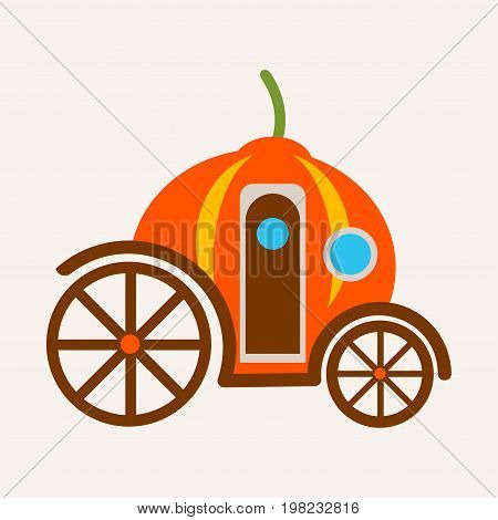 Pumpkin carriage from fairy tale of Cinderella vector illustration isolated. Magical transport made from vegetable with help of magic, transportation vehicle for princess with door and window
