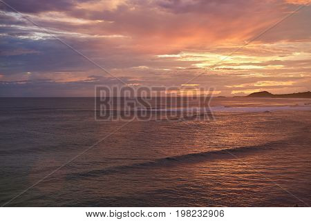 Oceanscape on sunset time in Nicaragua. Famouse surf beach