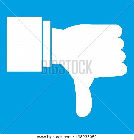 Thumb down gesture icon white isolated on blue background vector illustration