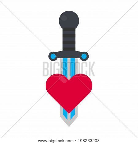 Tattoo decorative element with heart and sword vector illustration isolated on white background. Steel saber as symbol of eternal love, broken relationships and disappointment in life and partner