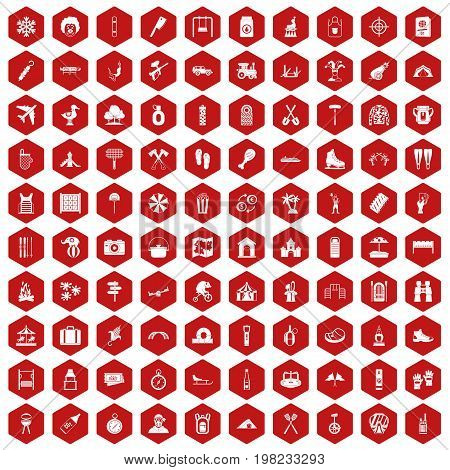 100 holidays family icons set in red hexagon isolated vector illustration