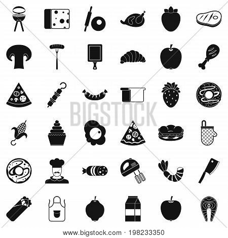 Cooked food icons set. Simple style of 36 cooked food vector icons for web isolated on white background
