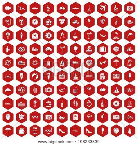 100 honeymoon icons set in red hexagon isolated vector illustration