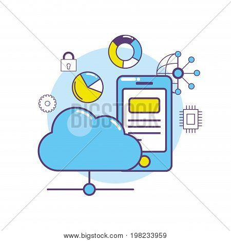 smartphone data center connection system vector illustration