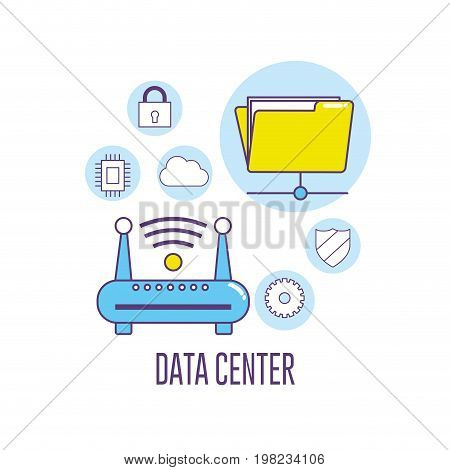 wifi router technology data center connection vector illustration