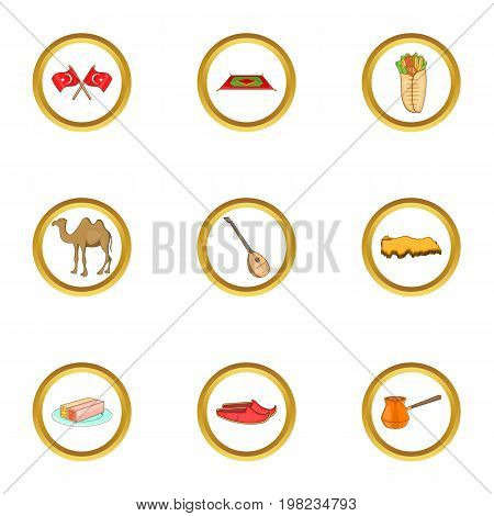 Istanbul culture icons set. Cartoon set of 9 istanbul culture vector icons for web isolated on white background
