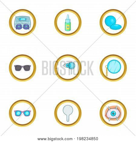 Ophthalmology icons set. Cartoon set of 9 ophthalmology vector icons for web isolated on white background
