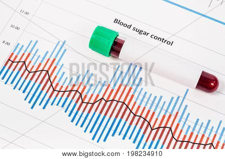 Sample blood for screening diabetic test in blood tube on blood sugar control chart.