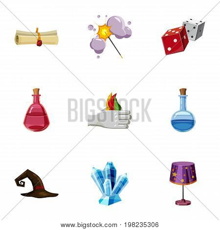 Magic tricks icons set. Cartoon set of 9 magic tricks vector icons for web isolated on white background