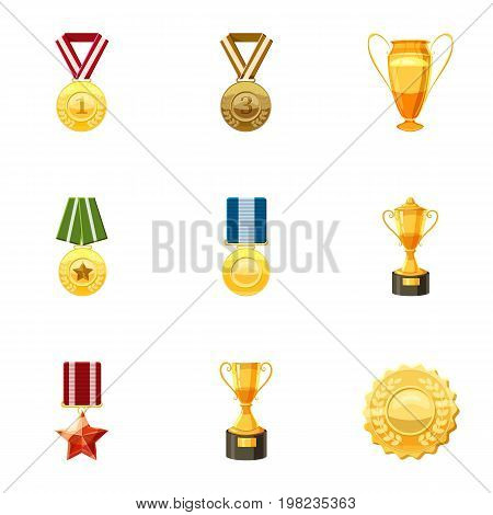 Medals icons set. Cartoon set of 9 medals vector icons for web isolated on white background