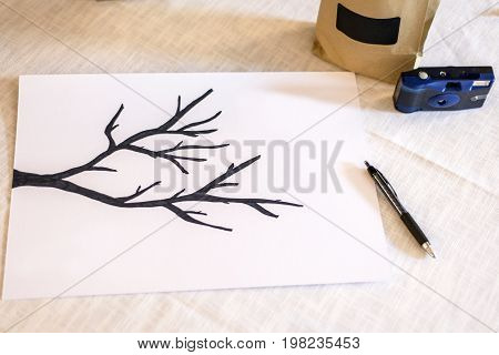 Marriage guestbook Hand drawn illustration of tree branch texture Grunge background abstract pen Paper branches leaf veins