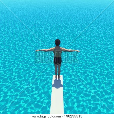 Young man jumping from trampoline into sea. This is a 3d render illustration