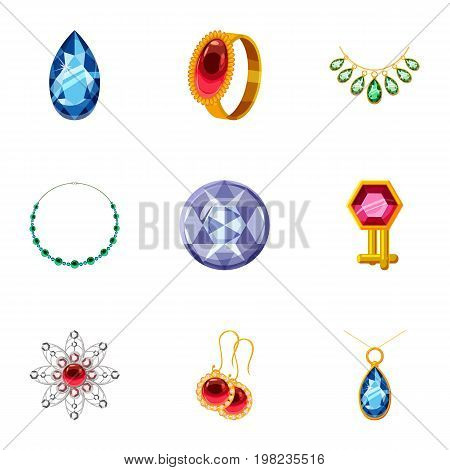 Rich jewelry icons set. Cartoon set of 9 rich jewelry vector icons for web isolated on white background