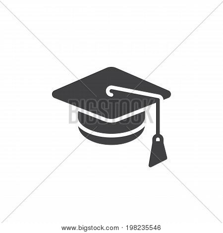 Square academic cap icon vector, filled flat sign, solid pictogram isolated on white. Mortarboard, Graduation symbol, logo illustration. Pixel perfect vector graphics