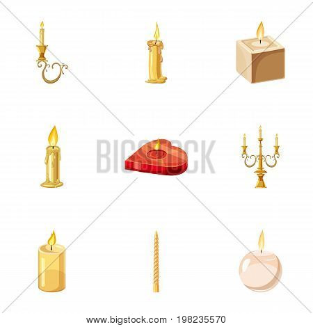 Various candles icons set. Cartoon set of 9 various candles vector icons for web isolated on white background