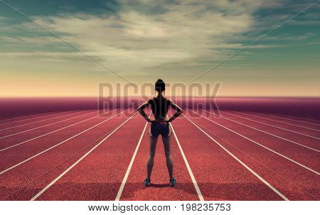 The athlete on the runway towards the sky. This is a 3d render illustration