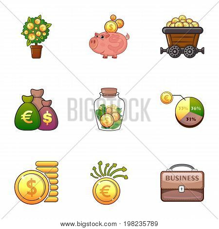 Business icons set. Cartoon set of 9 business vector icons for web isolated on white background