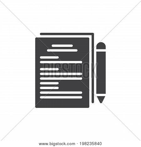 Paper documents and pen icon vector, filled flat sign, solid pictogram isolated on white. Documentation symbol, logo illustration. Pixel perfect vector graphics