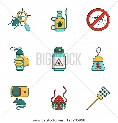 Remedy from insects icons set. Cartoon set of 9 remedy from insects vector icons for web isolated on white background