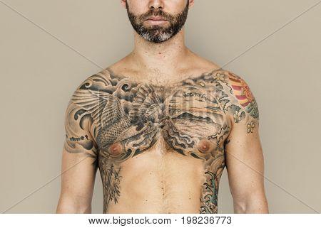 Caucasian Man Tattooed Chest