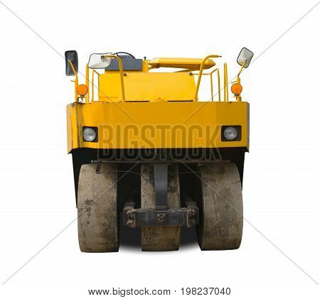 Worn Yellow Steamroller Isolated On White Background. This Has Clipping Path.